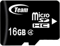 Карта памяти microSDHC 16GB Team Class 4+adapter