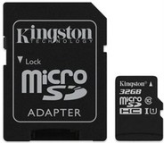 Карта памяти MicroSDHC 32GB UHS-I Class 10 Kingston Canvas Select + SD-адаптер (SDCS/32GB)