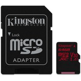 Карта памяти MicroSDXC  64GB UHS-I/U3 Class 10 Kingston Canvas React R100/W80MB/s + SD-адаптер (SDCR/64GB)