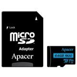 Карта памяти MicroSDXC  64GB UHS-I/U3 Class 10 Apacer + SD adapter (AP64GMCSX10U7-R)