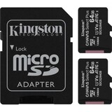 Карта памяти MicroSDXC  2x64GB UHS-I Class 10 Kingston Canvas Select Plus R100MB/s + SD-адаптер (SDCS2/64GB-2P1A)