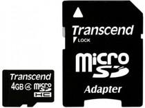 MicroSDHC 4GB Transcend Class 4 +adapter (TS4GUSDHC4)