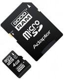 MicroSDHC  4GB Class 4 GOODRAM + SD-adapter (M40A-0040R11)